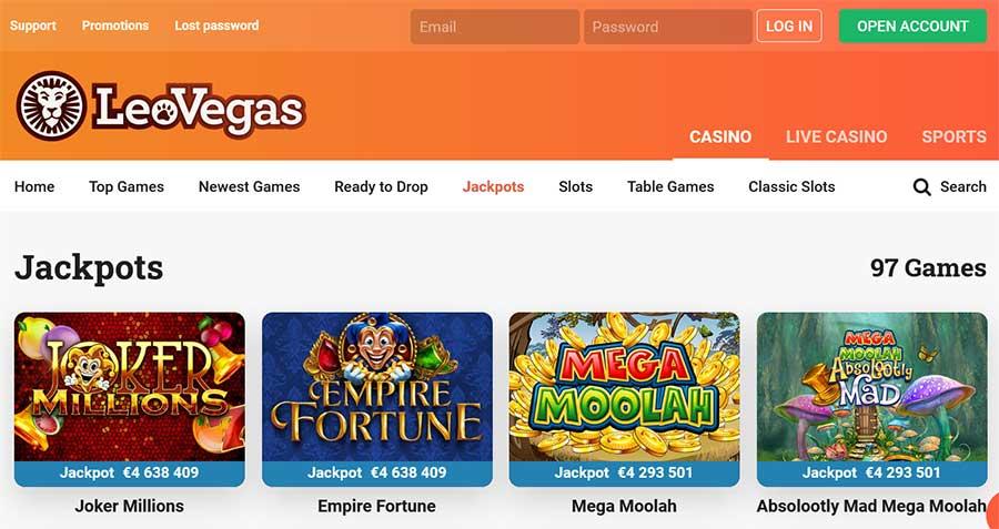 Jackpot gokkasten bij LeoVegas